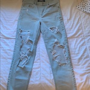 EXPRESS destroyed girlfriend fit jeans